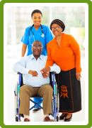 portrait of a caregiver with an elderly couple